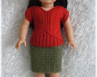 American Girl - Ribbed Springtime Top and Skirt (knitting pattern)