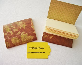 8 - Matchbook Notepads - Antique Floral Pattern- 12 - 3 x 4 inch fold over sheets -