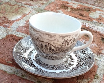 English Ironstone Tableware Brown Kew Garden Saucers