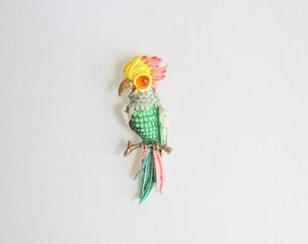 Cockatiel Pin, Cockatiel Brooch, Colorful Cockatiel Pin, Colorful Cockatiel Brooch, Vintage Cockatiel Pin, Vintage Cockatiel Brooch Bird Pin