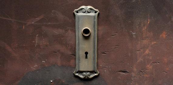 - Antique Brass Door Plate Circa 1920's / Vintage Brass Door
