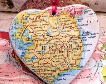 Ireland Map Christmas Ornament, Your Special Place in the Heart / HONEYMOON Gift / Wedding Map Gift / Travel Tree Ornament /