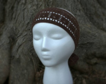 SALE! 10% off! Brown crocheted tie-on headband