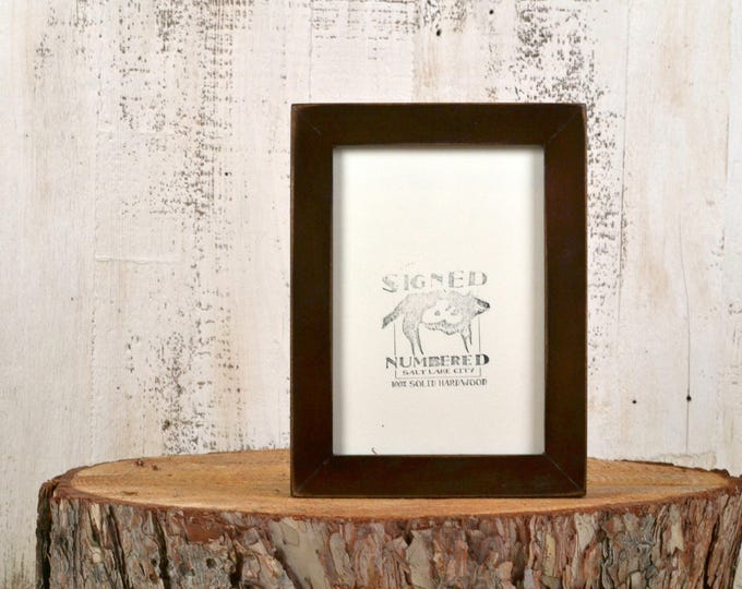 5x7 inch Picture Frame in 1x1 Flat Style with Vintage Dark Wood Tone Finish - IN STOCK - Same Day Shipping - 5 x 7 Photo Frame Brown