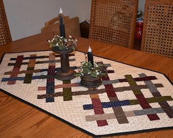 """Trellis Table Runner with Civil War Reproduction Fabrics - measuring 47"""" long by 23"""" wide"""