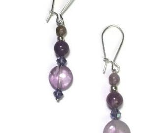 "Earrings:Handmade 925 Sterling silver, Amethyst and Swarovski Elements ""Successful and Strong"""