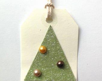 Christmas Gift Tags - Christmas Tree - Glitter Tags - Set of 10