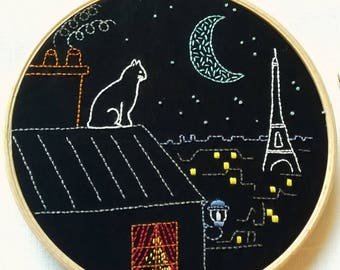 """Embroidery KIT - cat Embroidery pattern - embroidery hoop art - """"Paris by night"""" Hand embroidery kit"""