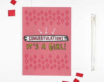 It's A Girl New Baby Girl Congratulations Card