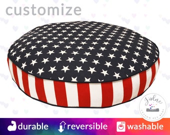 Patriotic Round Dog Bed with Insert   Stars & Stripes, Red, Blue, and white   You choose size and fabrics - Custom Round Dog Bed