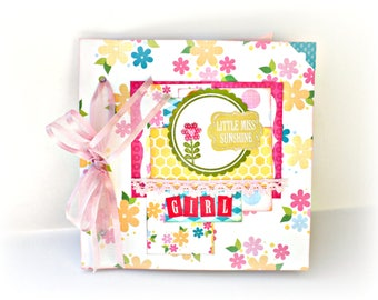 Girl mini album, Scrapbooking photo album, Baby shower gift, Memories book, Premade pages, Square album 6X6 in, Baby album, Ready to ship