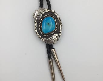 Native American Made Sterling SIlver Turquoise Bolo Tie