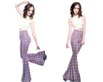 Groovy Geometric Bellbottom Flare Pants Highwaist High Rise