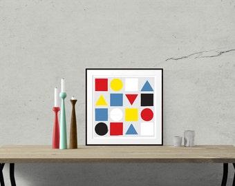 Primary - Mid Century Art Print Original design shapes colours size bauhaus modernist Mondrian minimalist 15.7x15.7