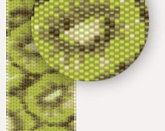 Kiwi fruits - winter fashion - Pattern Peyote Bracelet - seed bead pattern
