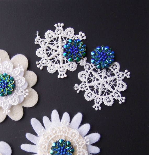 10 Blue cabochons - Blue chintz flatback cabochons - Blue flatback druzy buttons - Ocean blue resin button embellishments