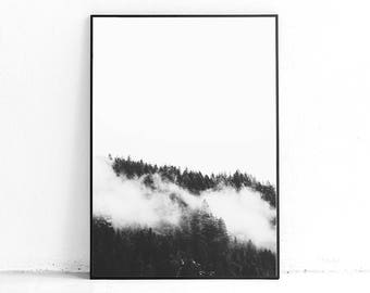 Printable Misty Forest Print, Foggy Forest Wall Poster, Foggy Tree Print, Misty Print, Foggy Print, Gray Wall Art Room, Nature Scandinavian