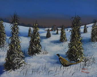 Pheasant in corn field - original painting
