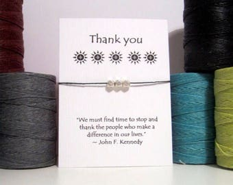 Thank You Silver Nugget  Wish Bracelet JFK