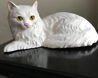 Cat Doorstop White Angora Glass-Eyed Vintage Bookend Doorstop Shelf Sitter Homeco Cat Figurine Angora Kitty  Feline Animal House Theme