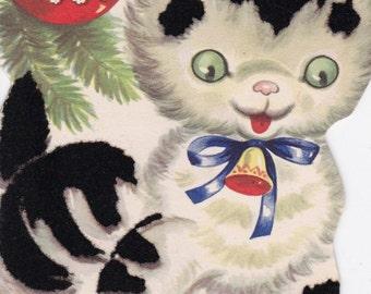 Vintage retro Christmas card cat kitten ornament bell digital download printable instant image