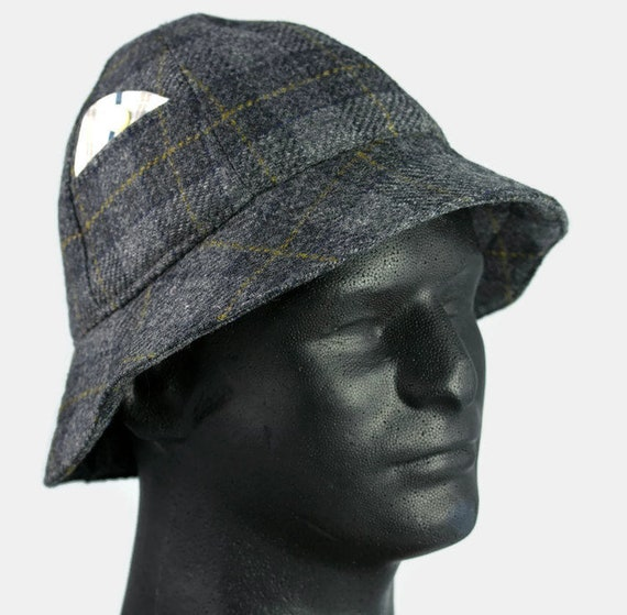 Mens Winter Hat Grey Black Wool Plaid 6 Panel Short Brim Bucket Hat  3d3cd76bf34