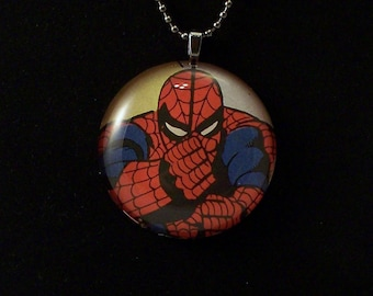 Spidey Comin Right Atcha Glass Pendant Necklace