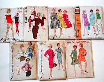 7* 1960's MISSES SEWING PATTERNS Size 14 B34 Dresses Pants Pantsdress Blouses Vintage