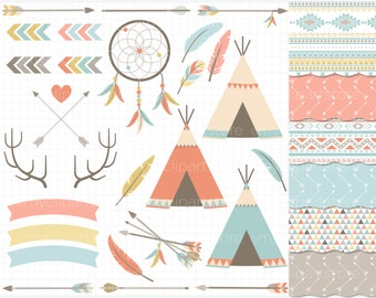Clipart Combo - Boho Tribal Elements / Native American Indian Clipart - Vector Clipart / Instant Download