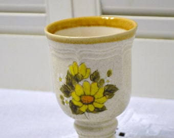 Retro Mikasa Goblet Footed Glass Cream Yellow Daisy Replacement Panchos Porch