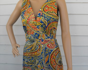 Hippie Print Dress Summer Sleeveless Maxi Vintage 70s 1970s S M