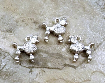3 Pewter French Poodle Charms - Free Shipping to US - (5476)