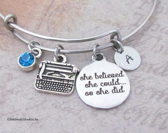She believed she could so she did Typewriter Charm Stainless Steel Bangle Initial Birthstone Writer Graduation Bangle Bracelet