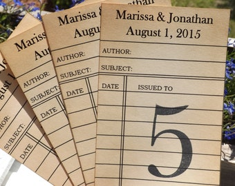 Library card Wedding Table Number Personalize library cards, Library Card table numbers ave The Date invitation library wedding theme