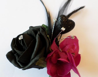 Orchid and Black Rose Wedding Buttonhole with Diamante, Feather and Glitter Heart