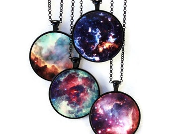 Nebula Necklace //Planet Necklace Solar System Jewelry//Astronomy//Space Charm- Omega, Unicorn's Rose, Cosmic Cloud, Small Magellanic Cloud