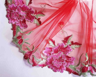 2.11 m high couture embroidery on red tulle lace floral 19.5 cm width