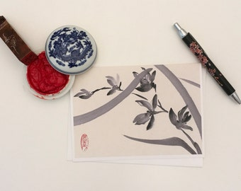 Blank Cards, Pack of 5 with Envelopes, Wild Orchid, Any Occasion, Sumi-e, Chinese Watercolor, Print