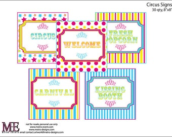 Carnival Party Signs, Circus Party Supplies