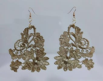Gold lace earrings, Golden flower earrings, Floral earrings, Wedding earrings, Bridal earrings, Fabric earrings, Statement earrings
