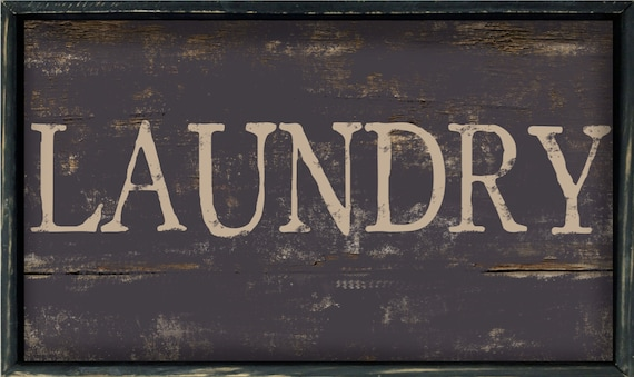 Handmade Wood Laundry Sign Decor Mudroom Signs Rustic Industrial Style Room