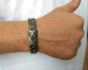 mens silver bracelet, Massive mens jewelry, biker mens bracelet, rocker mens jewelry, mens skull bracelet mens large bracelet skull bracelet