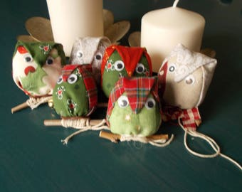 Owls in fabric, home decoration, Christmas