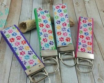 Colorful Paws on White Keychain Keyfob -- Proceeds to Animal Charity