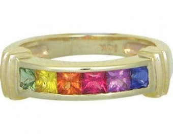 Multicolor Rainbow Sapphire Band Ring 14K Yellow Gold (1ct tw) SKU: 312-14K-Yg