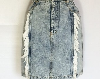 80s Acid Wash Denim Skirt with Fringe S Knee Length