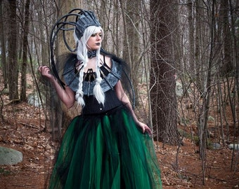 Floor length Adult tutu tulle skirt green black gothic petticoat two layer wedding gothic goth bridal -You Choose Size - Sisters of the Moon