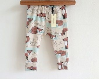 Organic baby leggings, fox leggings, baby gift set, toddler leggings, hipster leggings, organic baby clothes, toddler clothing, hipster baby