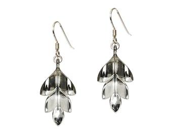 Leaf earrings, plant earrings, silver leaf earrings, sterling silver