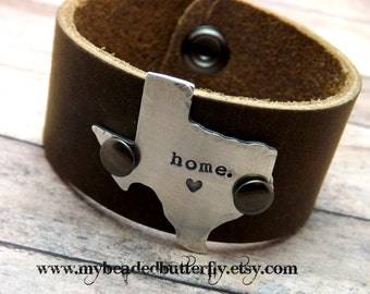Texas-leather cuff-home-personalized bracelet texas cuff- state leather bracelet-cuff-bracelet-arkansas-california-massachusetts-new york